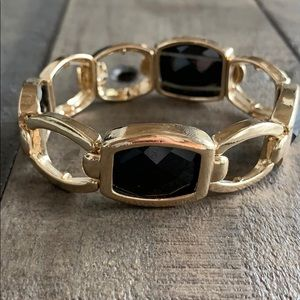 Gold and black stretchable bracelet